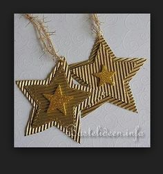 Christmas Crafts for Kids - Corrugated Glittery Christmas Star Ornaments Handmade Christmas Decorations, Christmas Ornaments To Make, Noel Christmas, Christmas Gift Tags, Holiday Crafts, Winter Crafts For Kids, Star Ornament, Glitter Stars, Ideas