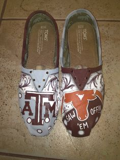 Texas A University hand painted TOMS. $110.00, via Etsy.