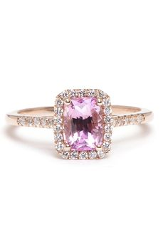 Greenwich Collection Padparadscha Sapphire and Diamond Ring, $4,650; greenwichjewelers.com Courtesy of Companies  - ELLE.com