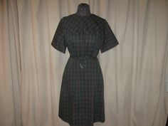 Vintage 50s 60s Carolia Maid Dark Green Orange Plaid Belted Shift House Day Dress Large by SavvyFlair, $22.00