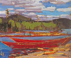 Bateaux Tom Thomson - Canadian Group of Seven Emily Carr, Canada Landscape, Landscape Art, Landscape Paintings, Canadian Painters, Canadian Artists, Group Of Seven Art, Tom Thomson Paintings, Art Gallery Of Ontario
