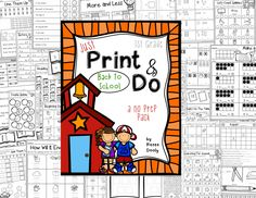 Back to School (August) Print and Do- math and literacy no prep printables,