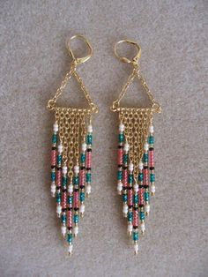 Seed Bead Earrings Modern Native American Style by pattimacs, $16.50  #handmadebeaddropearrings