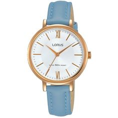 da0f38c71 Lorus Lorus Womens Stylish Blue Leather Strap Rose Gold Case Watch ($66) ❤  liked on Polyvore featuring jewelry, watches, slim watches, lorus, ...
