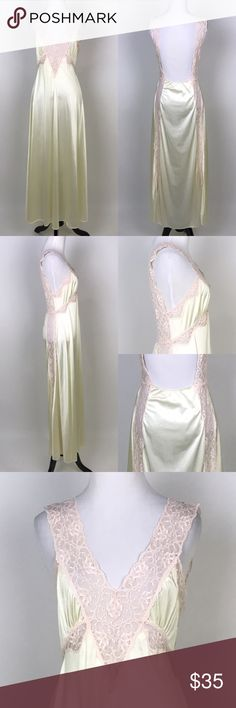 """[Vintage] Yellow & Pink Low Back Nightgown Lace Silky long Nightgown in a lovely pale yellow. Pink Lace stretchy straps and detail around waist. Low back. Elasticized across bottom of Back. Sheer lace panels down sides. No brand or size. Fits like a Small.  🔹Fabric: Polyester  🔹Bust: 30"""" 🔹Length: 54"""" 🔹Condition: Good pre-owned condition. Small spot under left armpit. See last photo. Vintage Intimates & Sleepwear Chemises & Slips"""