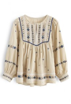 XL Top Beige Shirt Ukrainian Vyshyvanka Blouse Milky Embroidered Blouse Linen Blouse with Flowers Pattern Bohemian Top In STOCK SALE -40/%