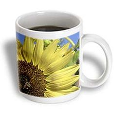 ($14.99) Yellow Sunflower and Bee Macro- Flowers- Floral Photography - 15oz Mug From 3dRose LLC