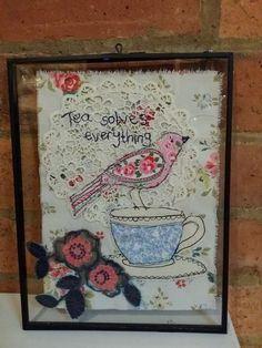 """applique freemotion machine embroidery bird on a teacup """"tea solves everything"""" by Emily Henson Free Motion Embroidery, Machine Embroidery Applique, Embroidery Art, Cross Stitch Embroidery, Sewing Art, Sewing Crafts, Chicken Quilt, Bird Applique, Lace Art"""