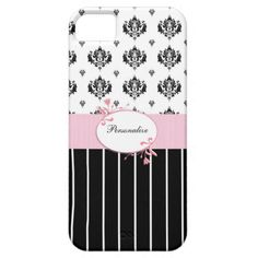 A trendy iPhone 5 Barely There Case with a chic black and white damask pattern on the top and sassy pinstripes on the bottom, divided by a girly pink floral frame. Personalize by adding your name. Perfect present for the stylish and fashionable woman who likes stripes and a damask damask pattern.