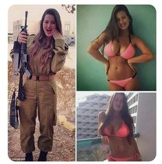 Although they have to deal with heavy weaponry and gruelling training, the girls are not afraid to show off their fun, playful side, by posting their sexy snaps in bikinis. Idf Women, Military Women, Israeli Female Soldiers, Mädchen In Uniform, Lady, Femmes Les Plus Sexy, Military Girl, Girls Uniforms, Badass Women