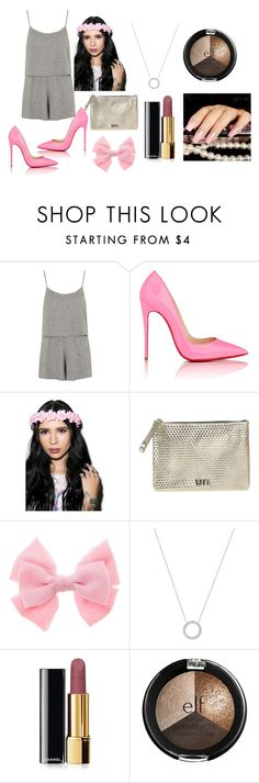 """""""pink and gray"""" by ilove5sos-939 on Polyvore featuring Topshop, Christian Louboutin, UN United Nude, Michael Kors and Chanel"""