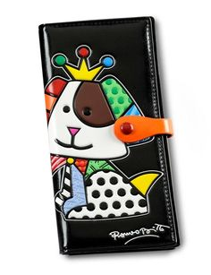 BRITTO Large Black Beagle Dog Wallet