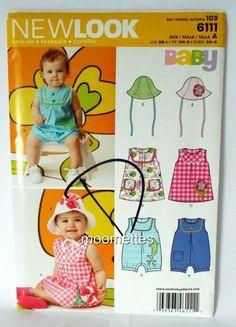 Girl Baby Hat Bonnet Romper Sewing Pattern NB S M L Simplicity 6111 New Uncut #Simplicity #RomperSunsuitHatBonnet