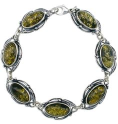 Oval Green Amber Bracelet