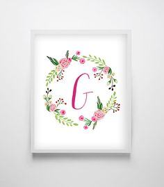 Sale 50% OFF Floral Monogram Printable by OnlyPrintableArts