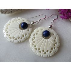 Lapis Lazuli Earrings, Handcarved Carved Bone Earrings, Filigree Ivory... (€25) ❤ liked on Polyvore featuring jewelry and earrings