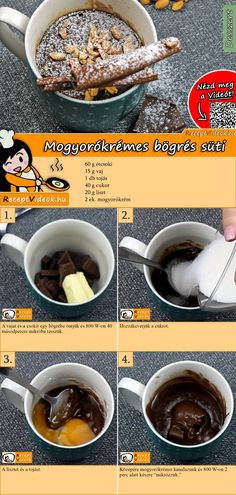 Mug Recipes, Cake Recipes, Cooking Recipes, Dessert Drinks, Dessert Recipes, Gourmet Desserts, Hungarian Recipes, Winter Food, No Cook Meals