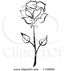 Clipart Of A Black And White Rose Flower 20 - Royalty Free Vector Illustration by Seamartini Graphics