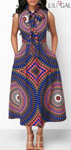 Sleeveless Printed Pocket Bowknot Neck Dress – African Fashion Dresses - African Styles for Ladies African Fashion Designers, African Inspired Fashion, African Print Fashion, Africa Fashion, African Attire, African Wear, African Women, African Style, African Print Dresses