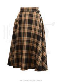 40s Whirlaway Skirt - Brown Check