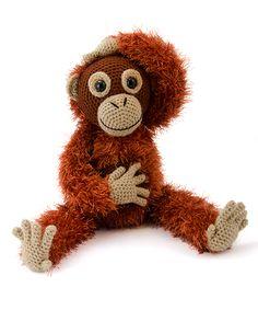Orwell the orangutan amigurumi pattern by Janine Holmes at Moji-Moji Design Crochet Monkey, Crochet Teddy, Cute Crochet, Crochet Toys, Amigurumi Free, Crochet Patterns Amigurumi, Crochet Animals, Pet Toys, Crochet Projects