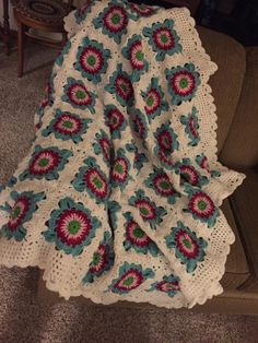 Crocheted African Flower Throw by Shirley