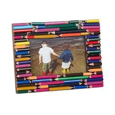 This unique picture frame for kids add color and creativity to your child's room. Perfect for displaying artwork or a favorite photo. The Company Store Diy Photo Frame Cardboard, Pencil Photo, Pencil Art, Kids Room Accessories, Pencil Crafts, Unique Picture Frames, Artwork Display, Patterned Sheets, Art For Kids