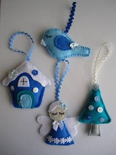 Blue Felt decorations, bird, gingerbread house, angel, tree