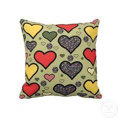 "Hearts. Throw Pillow 20"" x 20""."