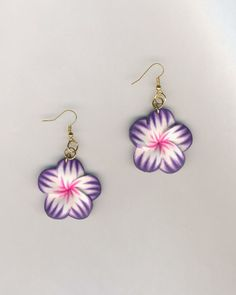 CHEAPLY PRICED. $7.50. FREE NECKLACE WITH EVERY PURCHASE! Gold-Plated Earrings with Polymer Clay Flower Pendants. https://www.etsy.com/ca/shop/JehovahJJewellery?ref=si_shop