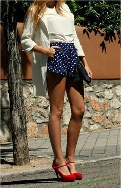 I have shorts JUST like these! Except my outfit consists of an 'off the shoulder's red top, with white wedges! Love!!