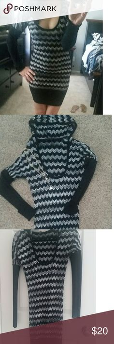 *FINAL PRICE DROP* Super cute sweater dress! Sweater dress with hood attached!  Has long sleeves, can be rolled up to added comfort Looks great with or without leggings Gently used. bebe Dresses Long Sleeve
