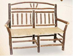Old Hickory Wagon Wheel Outdoor Settee Small House Furniture, Living Room Furniture, Modern Furniture, Home Furniture, Old Hickory Furniture, Hickory Wood, Antique Furniture, Rustic Outdoor Furniture, Outdoor Chairs