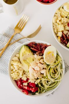No-Lettuce Lobster Cobb Salad with Zucchini Noodles by @Inspiralized