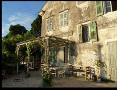 The Durrells In Corfu, Corfu Greece, Carmel Valley, Rustic Style, Cottage Style, Architecture Design, Pergola, Beautiful Places, Villa