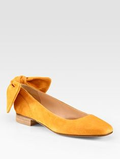 Carven Suede Bow Ballet Flats
