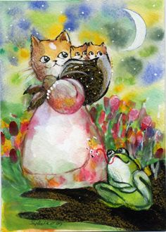 Yellow Tabby Cat Kittens BullFrog Watercolor at ArtistRising.com