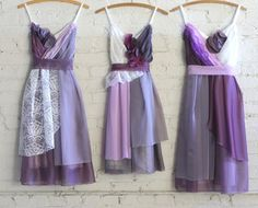 custom purple and lavender bridesmaids dresses with ivory lace by Armour sans Anguish #bridesmaids #bridesmaidsdresses #purplewedding