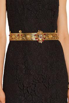 Dolce & GabbanaSacro Cuore Swarovski crystal-embellished gold-plated beltoutfit