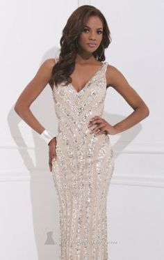 Embellished Mesh Gown by Tony Bowls Evenings TBE11453