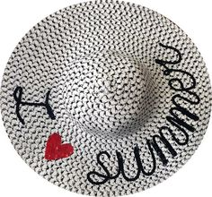 I Love Summer Hat  Sequin Message Beach Hat  by SummerSequins