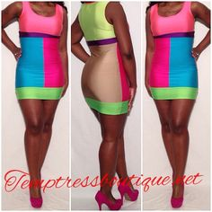 Stand out in this colorful dress!Spandex polyester