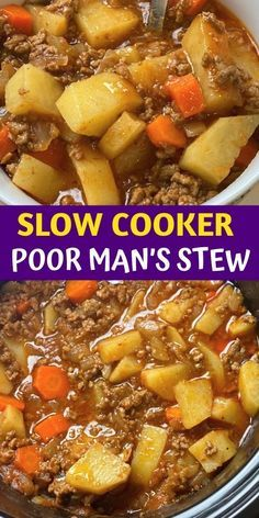 Slow Cooker Stew Recipes, Crockpot Dishes, Crock Pot Cooking, Soup Recipes, Ground Beef Crockpot Recipes, Crock Pots, Beef Stew Crockpot Recipe, Crockpot Recipes With Potatoes, Slow Cooker Potatoes