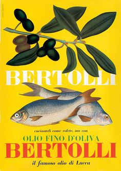 Italian Bertolli Olive Oil Seafood Fish Cooking Giclee Print Mounted Canvas Vintage Ad Art Poster