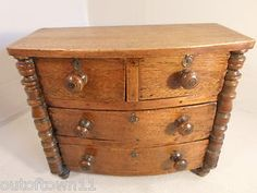 Antique Mahogany Bow fronted Miniature Chest of Drawers Apprentice Piece | eBay