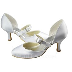 Women's Satin Spool Heel Closed Toe Pumps With Buckle Rhinestone (047065622)