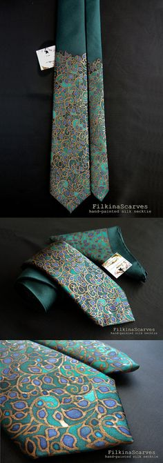 Mens tie Silk Necktie Hand Painted Teal Mens Neckties Green