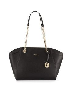 Julia Medium Leather Tote Bag, Onyx