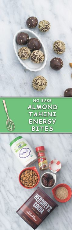 These delicious, just 7 INGREDIENTS & ready under 30 minutes energy bites are so addicting! Packed with healthy almonds, dates, cinnamon, tahini and cocoa powder!