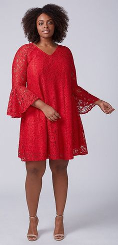 Plus Size Red Lace Dress - Plus Size Holiday Party Dress #Plussizepartydress